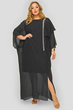 Платье длинное из черного шифона, с украшением.
