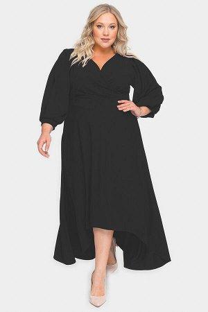 Платье вечернее с драпировкой и асимметричным низом, черное