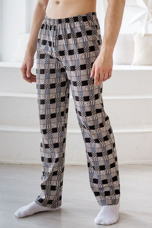 Брюки мужские пижамные из кулирки коричневый