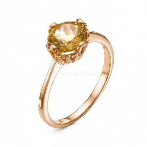 Кольцо из золочёного серебра с нат. цитрином GRE2038-Rз405