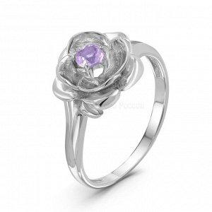 Кольцо из серебра с нат.аметистом родированное К1440р401