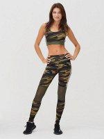 Спортивный костюм для фитнеса женский цвета хаки 212903Kh