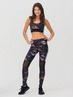 Спортивный костюм для фитнеса женский темно-серого цвета 212903TC