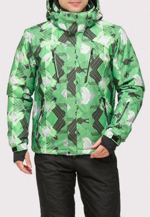 Мужская зимняя горнолыжная куртка зеленого цвета 18108Z