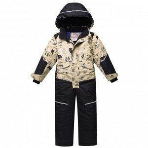 Подростковый для мальчика зимний комбинезон бежевого цвета 8809B