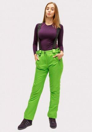 Женские зимние горнолыжные брюки салатового цвета 905Sl