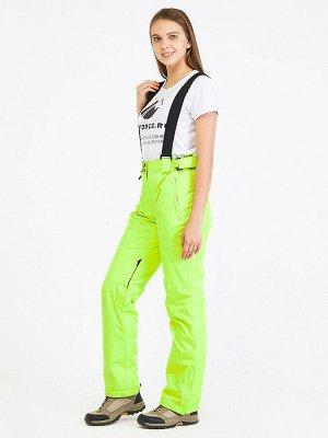 Женские зимние горнолыжные брюки салатового цвета 818Sl