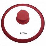 Крышка LaDina стеклянная с силиконовым ободом и ручкой 26 см