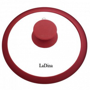 Крышка LaDina стеклянная с силиконовым ободом и ручкой 20 см