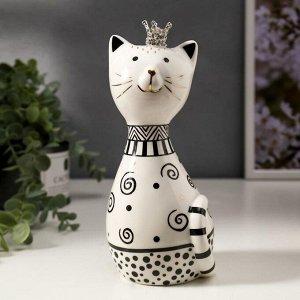 """Сувенир керамика """"Кошечка в короне, с узорами"""" бело-чёрный с золотом 20,5х8,7х9,2 см"""