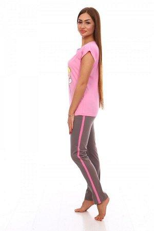 Костюм Ткань: Кулирка; Состав: 100% хлопок; Размеры: 44-54; Цвет: Розовый