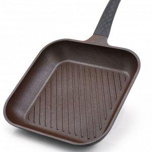 Сковорода Ecoramic 28 см квадратная ГРИЛЬ с антипригарным нанопокрытием Mega Stone без крышки