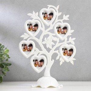 """Фоторамка пластик на 6 фото 4.5х3 см """"Дерево с сердцами"""" белая 26.5х19.5х11 см"""