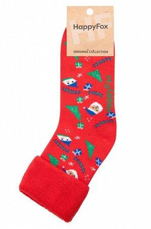 Теплые махровые носки с новогодним рисунком поднимут настроение и согреют ножки