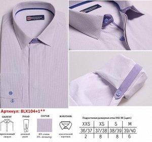 8LX104+1X** (XXS-M) Подростковая сорочка, притал. дл. рукав