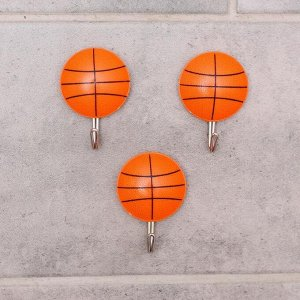 Набор крючков на липучке «Мячи», 3 шт, цвет МИКС