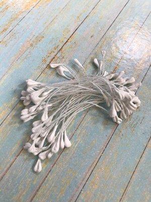 Тычинки для изготовления цветов матовые плоские двухсторонние белые 3гр