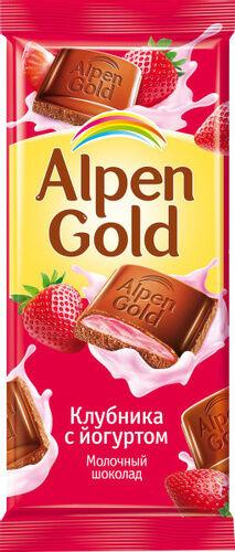 Шоколад Альпен Гольд Alpen Gold молочный с клубнично-йогуртовой начинкой,90 г