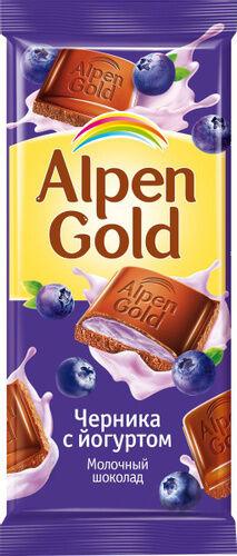 Шоколад Альпен Гольд Alpen Gold молочный с чернично-йогуртовой начинкой,90 г