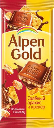 Шоколад Альпен Гольд Alpen Gold молочный с соленым арахисом и крекером,85 г