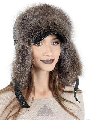 Женская шапка ушанка из енота с козырькомРуфина