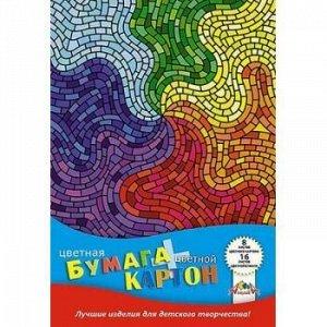 """Набор цветного картона (8л)+цветная бумага (16л) """"Цветная мозаика"""" С1832-10 АппликА {Россия}"""