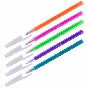 """Ручка шариковая масляная """"Stick Neon"""" синяя 1.0мм корпус ассорти 1230/48BX Luxor {Индия}"""