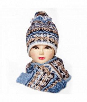 Волан с помпоном 3-ка (шапка+шарф+варежки) Комплект