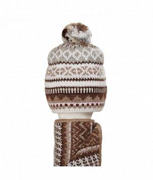 Шапка-колпак с помпоном двойка (колпак+шарф) Комплект