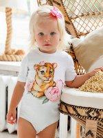 """Боди с коротким рукавом """"Тигрица в цветах"""""""