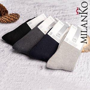Мужские хлопковые носки с махрой (однотонные) milanko