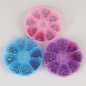 Набор кнопок рубашечных в контейнере, закрытые, d = 9,5 мм, 50 шт, цвет красный