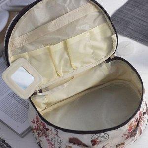 Косметичка-сундучок, отдел на молнии, с ручкой, цвет белый/коричневый
