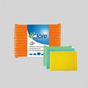Набор губок с металлизированной нитью, 12,5х8.5х1,5см, 3шт,  Mesh Sponge  ВЭД
