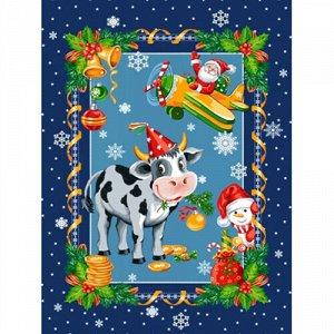 Полотенце 45х60, КУПОН, вафельное полотно, 100 % хлопок,  Новогодний бычок синий