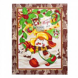 Полотенце 45х60, КУПОН, вафельное полотно, 100 % хлопок,  Новый год (коричневый)