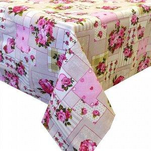 Скатерть  Ассорти  145х180, рогожка, 100 % хлопок,  Пэчворк (розовый)