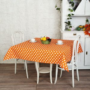 Скатерть  Ассорти  145х180, рогожка, 100 % хлопок,  Горошек (оранжевый)