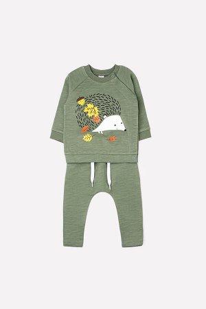 Комплект(Осень-Зима)+baby (темно-зеленый(желуди))