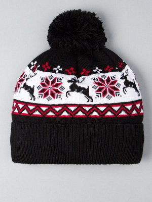 Шапка вязаная с бубоном, орнамент снежинка и олень, черный