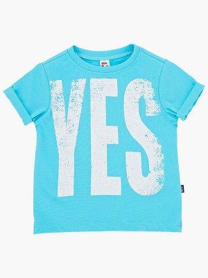 "Футболка с принтом ""YES"" (92-116см) UD 0730(9)бирюза/бел"
