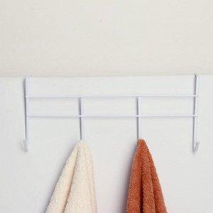 Вешалка надверная на 4 крючка Доляна «Моно», 34,5?8,5?16 см, цвет белый