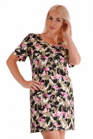 Платье Цвет: Коричневый.   Подробнее: Домашнее платье с коротким рукавом. Яркий принт ткани создает интересный образ. Длина изделия по спинке (указано для 50 размера) - 92 см, длина рукава - 24 см.