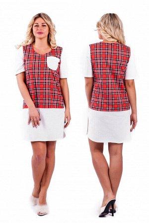 Платье Цвет: Молочный/красный.   Подробнее: Ночная сорочка с контрастными вставками, боковыми разрезами. Длина изделия по спинке (указано для 50 размера) - 95см, длина рукава - 29 см.