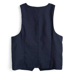 Комплект Состав: Сорочка- 65% хлопок, 35% полиэстер, жилет- 40% вискоза, 60% полиэстер  Цвет: темно-синий, голубой  Год: 2020 Стильный и практичный комплект для мальчиков из сорочки с коротким рукавом