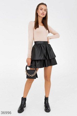 Двухъярусная юбка-мини из кожи
