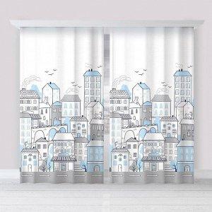 "Комплект штор ""Этель"" Sweet home blue 145*260 см-2 шт. 100% п/э. 140 г/м2"