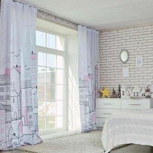 """Комплект штор """"Этель"""" Sweet home rose 145*260 см-2 шт. 100% п/э. 140 г/м2"""