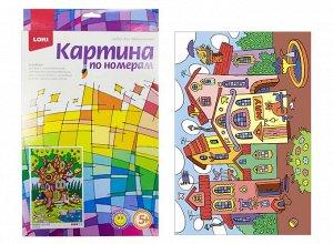 """Ркн-024 Картина по номерам для малышей """"Разноцветный город"""" /10"""