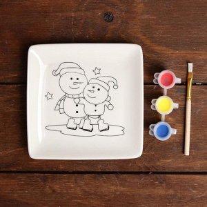 Набор тарелка под раскраску «Снеговички» краска 3 цв по 2 мл, кисть
